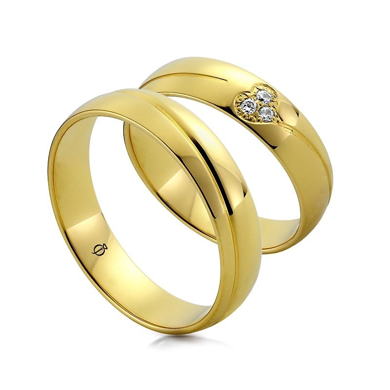 Złote obrączki Diamond Heart