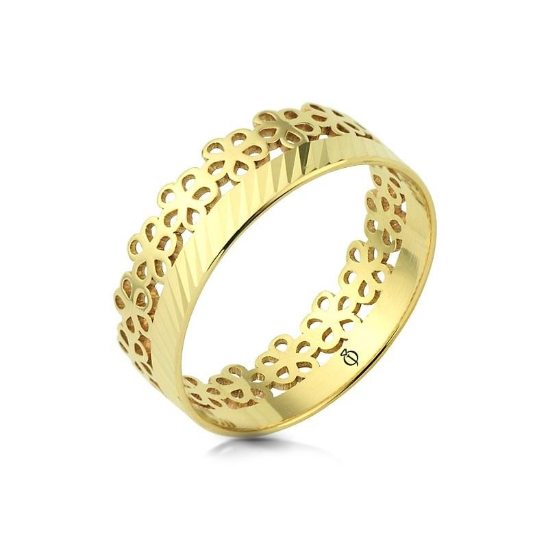 Obrączka złota - Diamant Flower