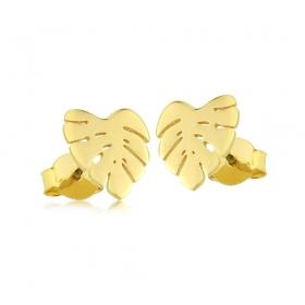 Kolczyki złote - Liść Monstery