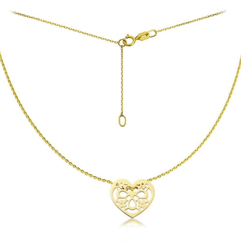 Naszyjnik złoty Serce Ornamente