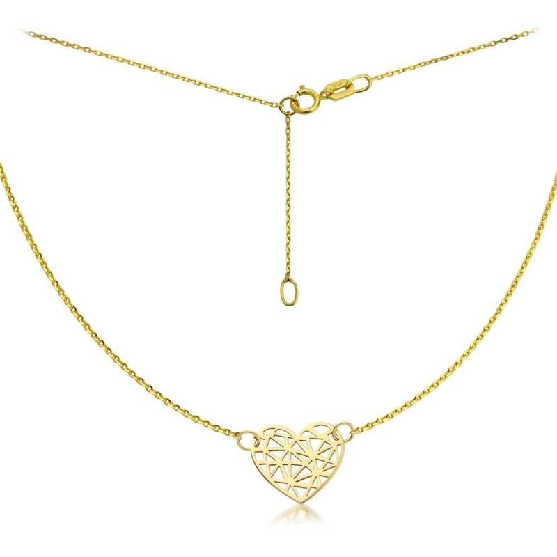 Naszyjnik złoty Serce origami