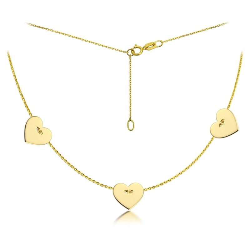 Celebrytka złota - Three Hearts