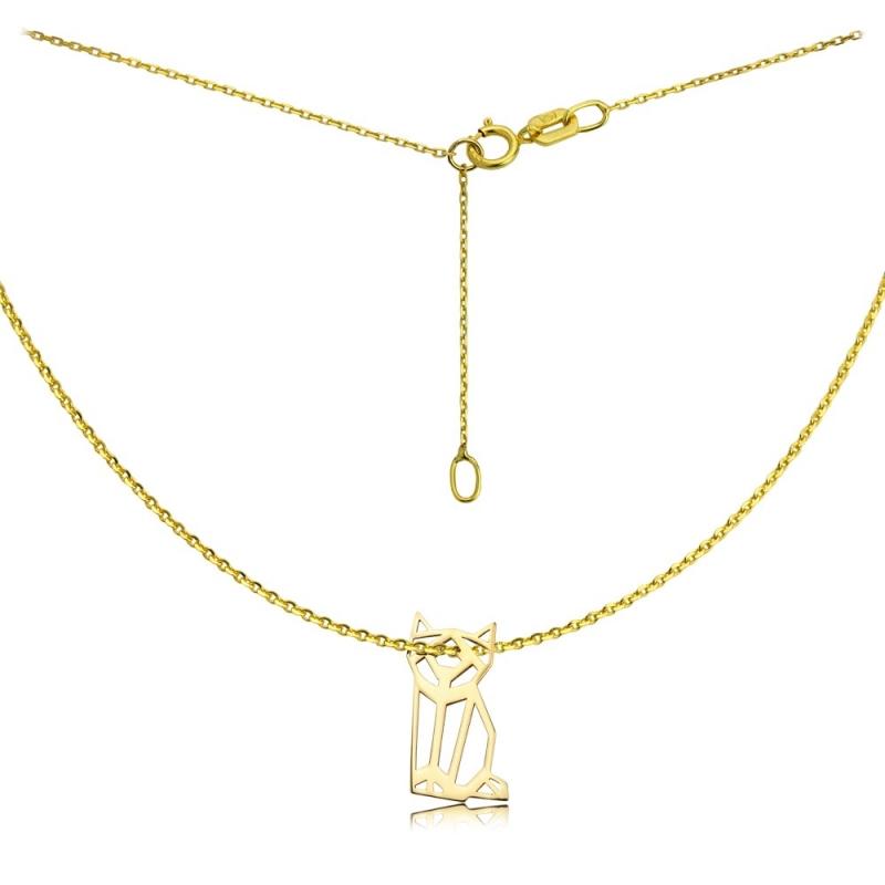Celebrytka złota - Kot Origami