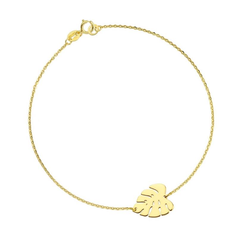 Bransoletka złota - Liść Monstery