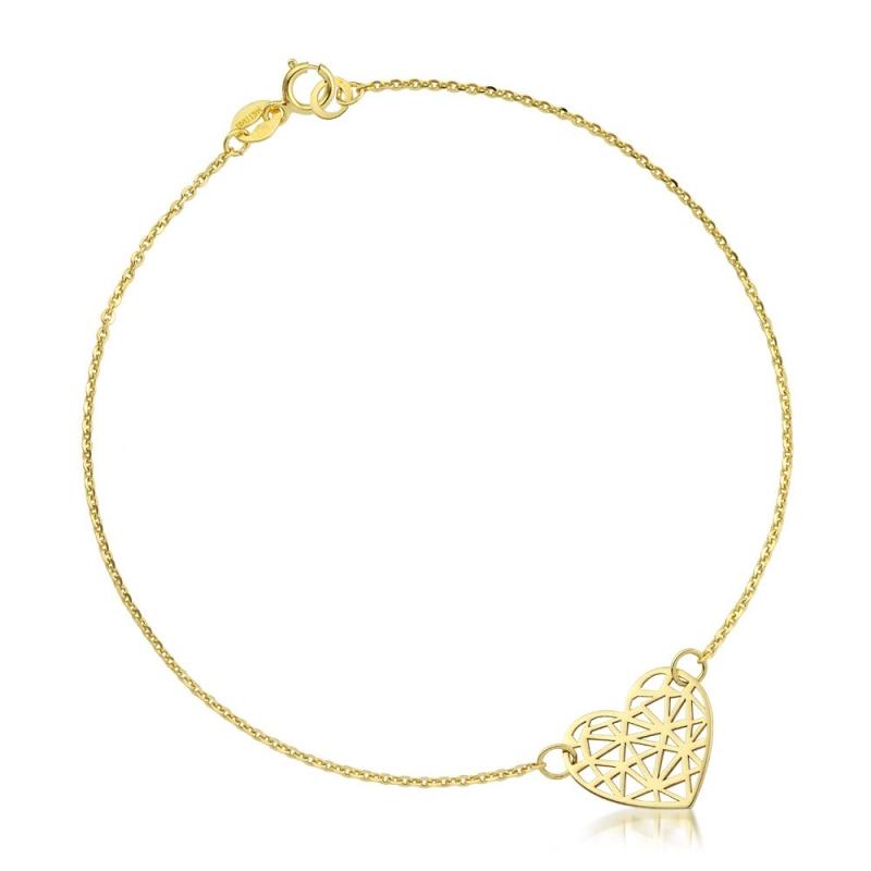 Bransoletka złota - Origami Heart