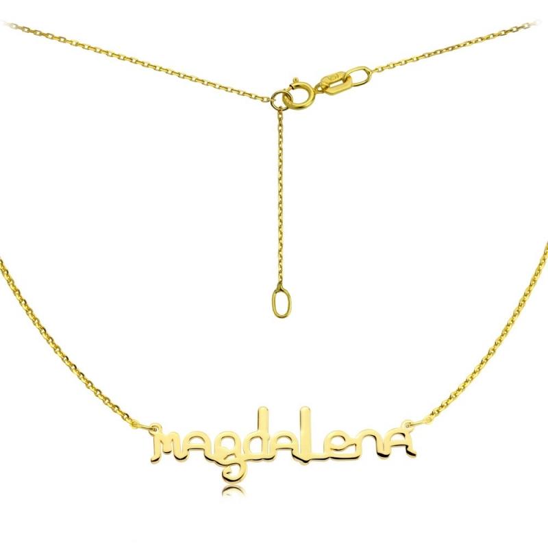Naszyjnik złoty z imieniem - czcionka Ether