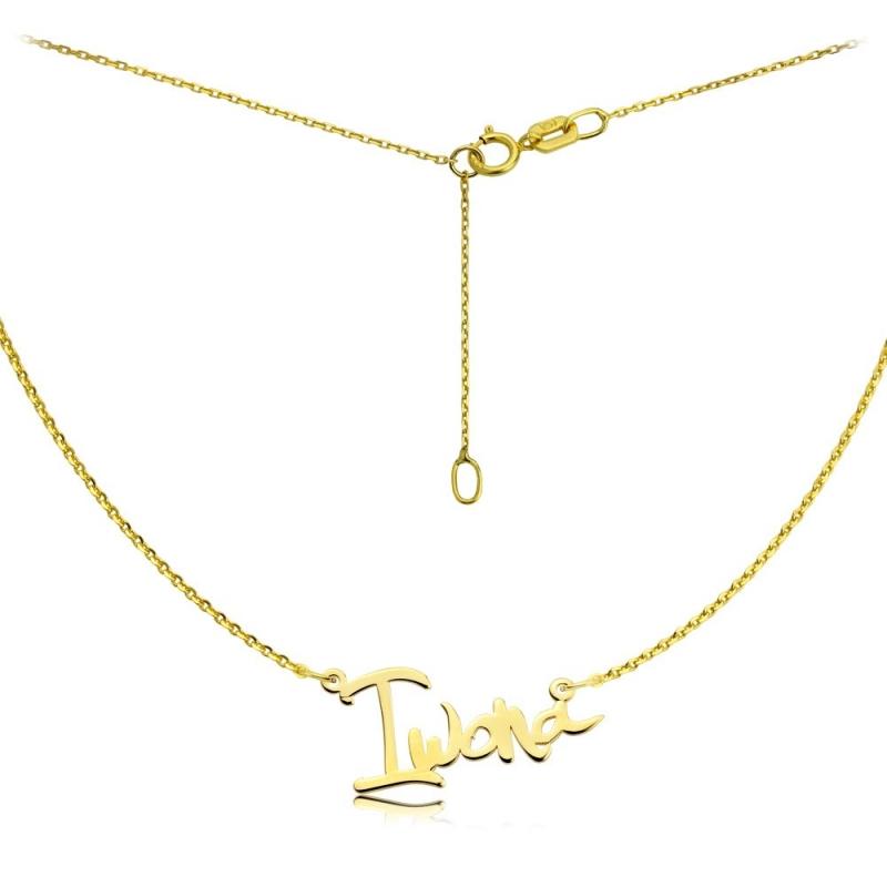 Naszyjnik złoty z imieniem - czcionka Yelka