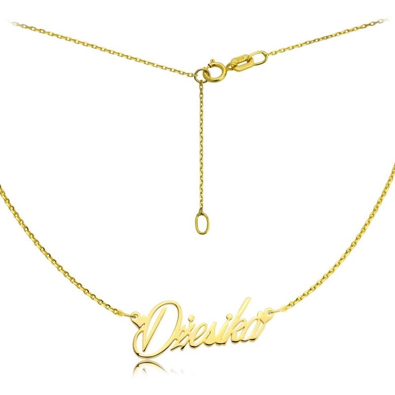 Naszyjnik złoty z imieniem - czcionka Masterics