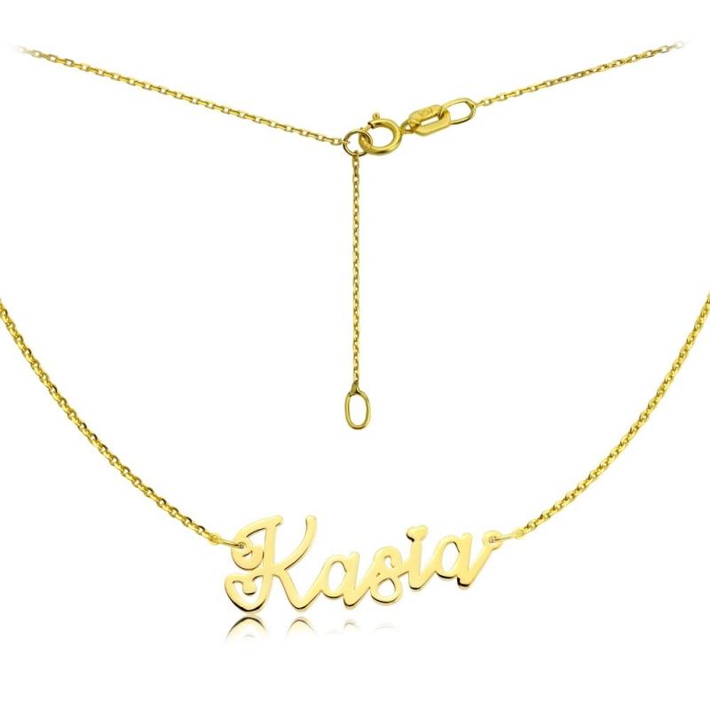 Naszyjnik złoty z imieniem - czcionka Lovers