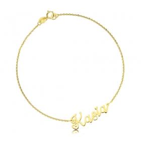 Bransoletka złota z imieniem - czcionka Lovers