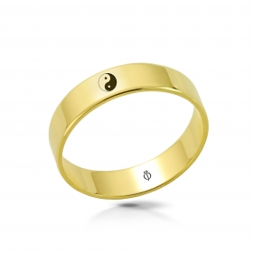 Ring złoty Jin-jang