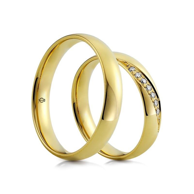 Złote obrączki Classico Diamanti