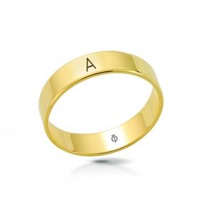Ring złoty z literą A