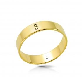 Ring złoty z literą B