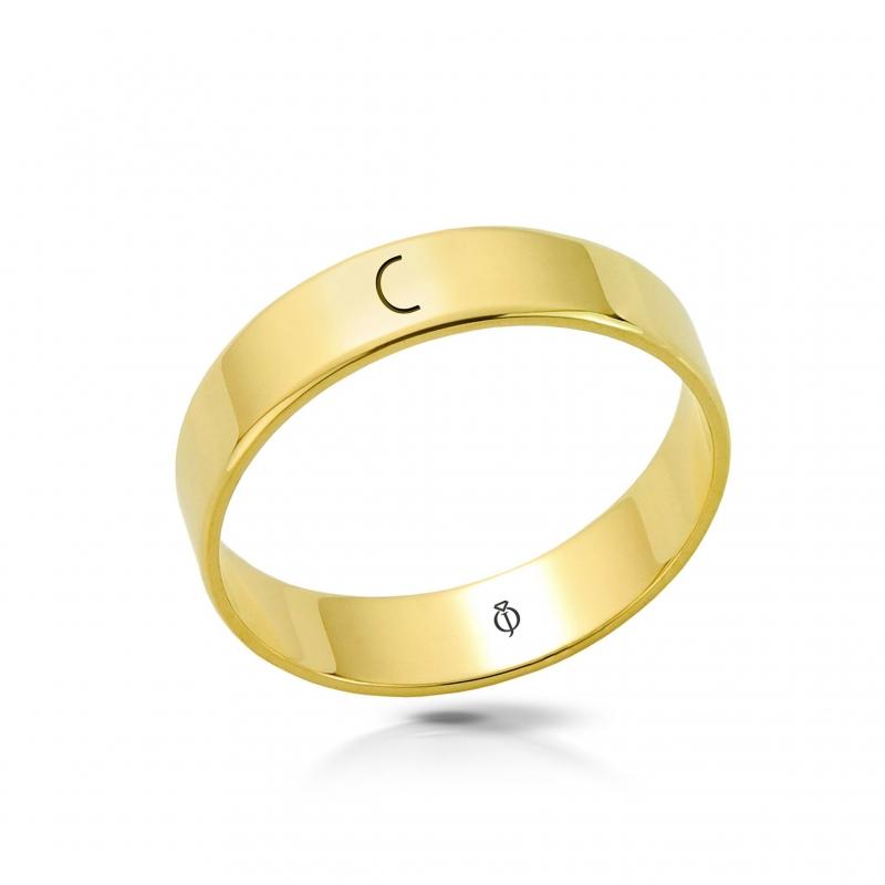 Ring złoty z literą C