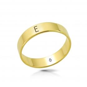 Ring złoty z literą E