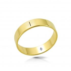 Ring złoty z literą I