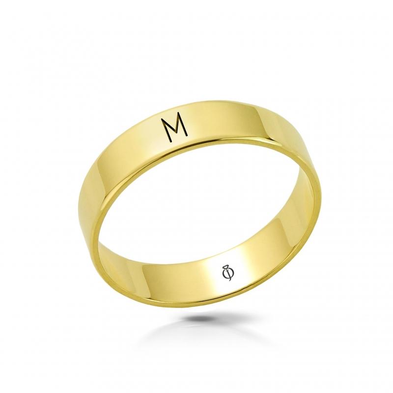 Ring złoty z literą M