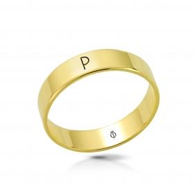 Ring złoty z literą P