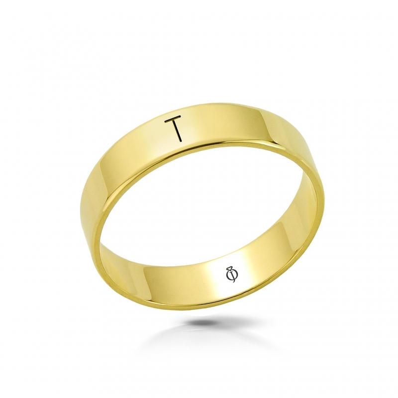 Ring złoty z literą T