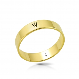Ring złoty z literą W