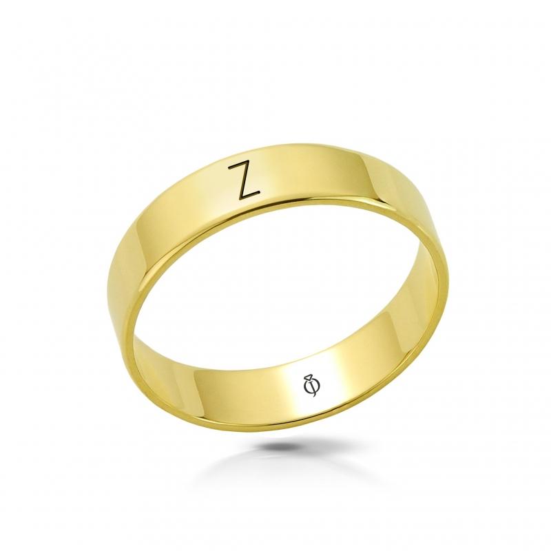 Ring złoty z literą Z