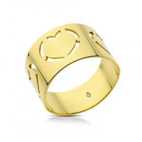 Pierścionek ażurowy złoty Three Hearts