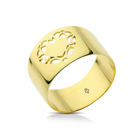 Pierścionek ażurowy złoty Single Heart