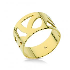 Pierścionek ażurowy złoty Irregular