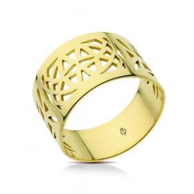 Pierścionek ażurowy złoty Origami