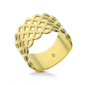 Pierścionek ażurowy złoty Caro