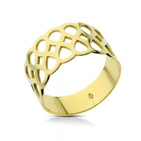 Pierścionek ażurowy złoty Tress