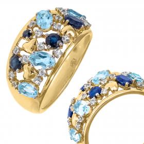 Pierścionek złoty z niebieskimi topazami