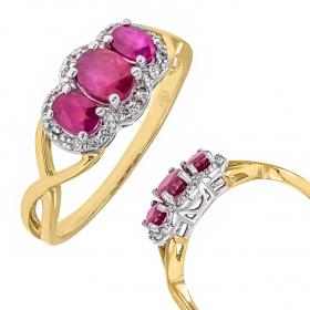 Pierścionek złoty z rubinami
