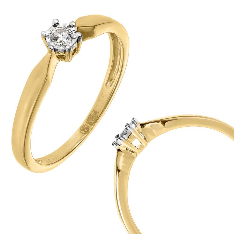 Pierścionek złoty z delikatnym diamentem