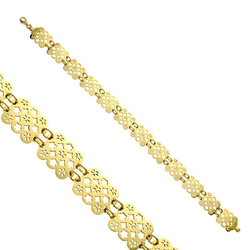 Bransoletka ażurowa złota Mini Flowers