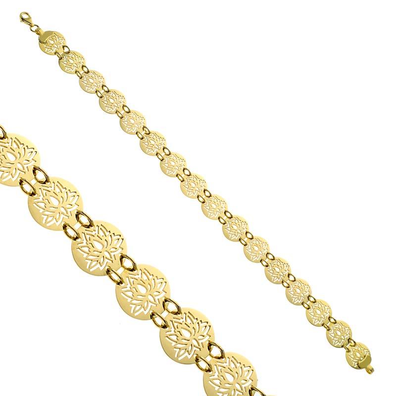 Bransoleta złota Ażurowe Lilie