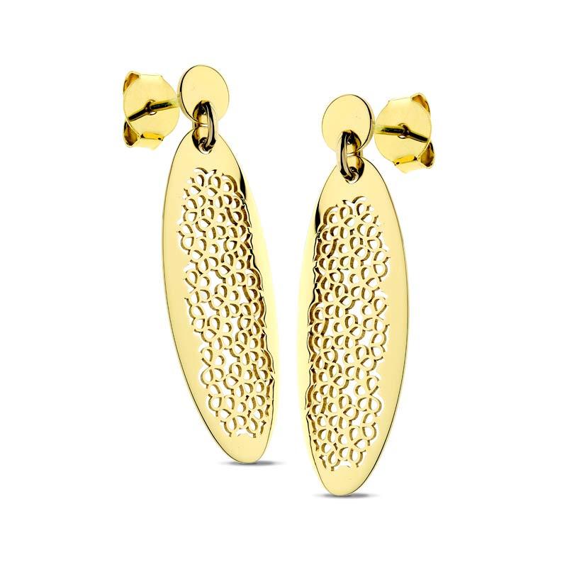 Kolczyki ażurowe złote Flower Style