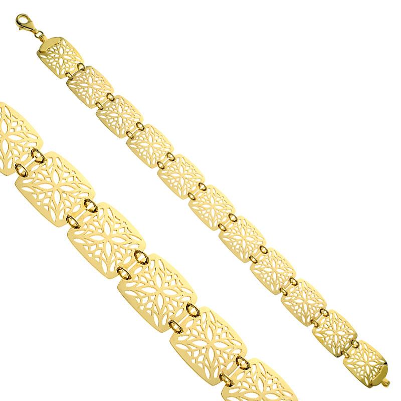 Bransoletka złota Ażurowa Peonia