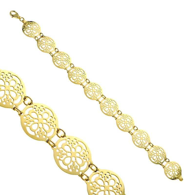 Bransoletka ażurowa złota Ornament Style