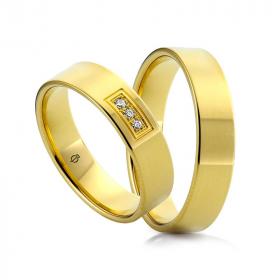 Złote obrączki Rettangolo Brillante