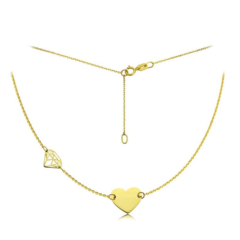 Celebrytka złota Heart & Diamond