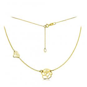 Naszyjnik złoty róża i diament