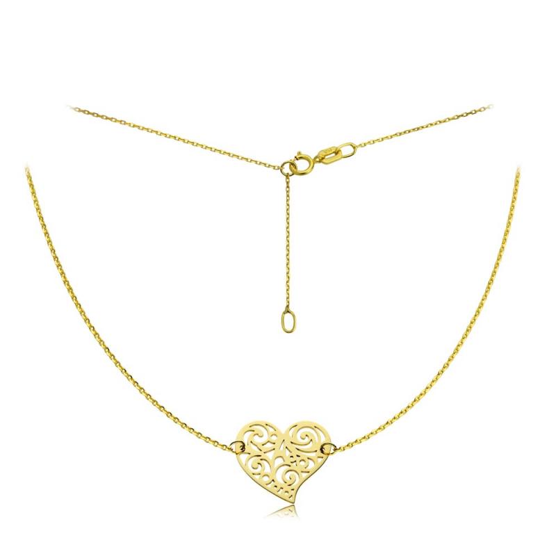 Naszyjnik złoty szalone serce