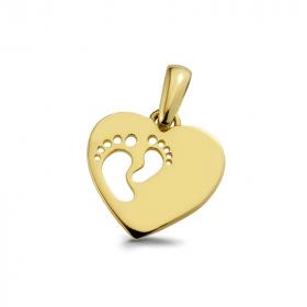 Zawieszka złota Stopy w sercu W180