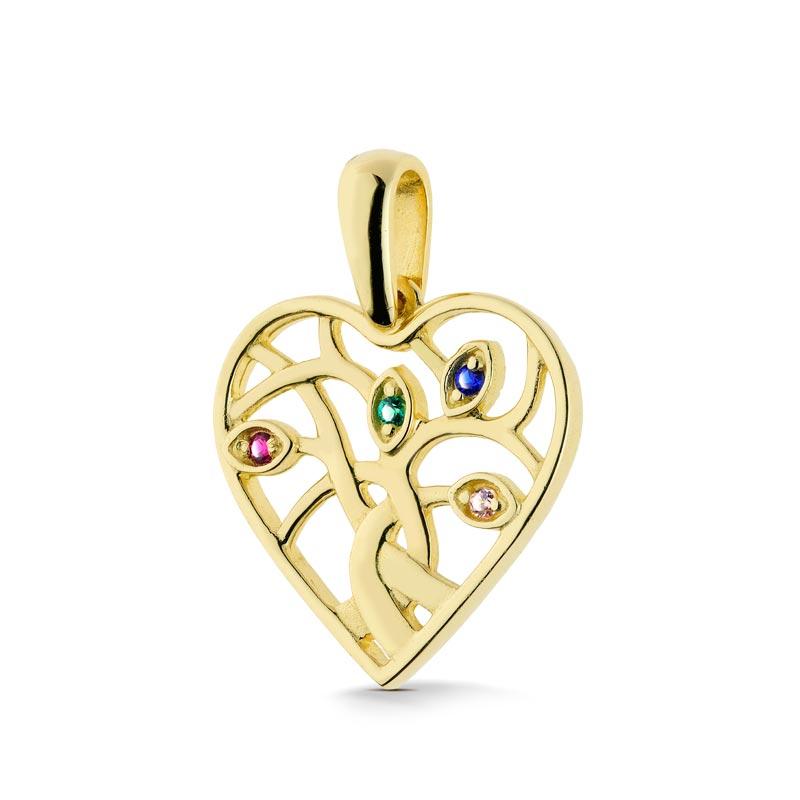 Zawieszka złota -  Serce z kamieniami W186