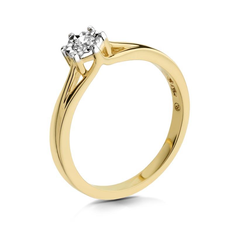 Pierścionek złoty z brylantem A206_10