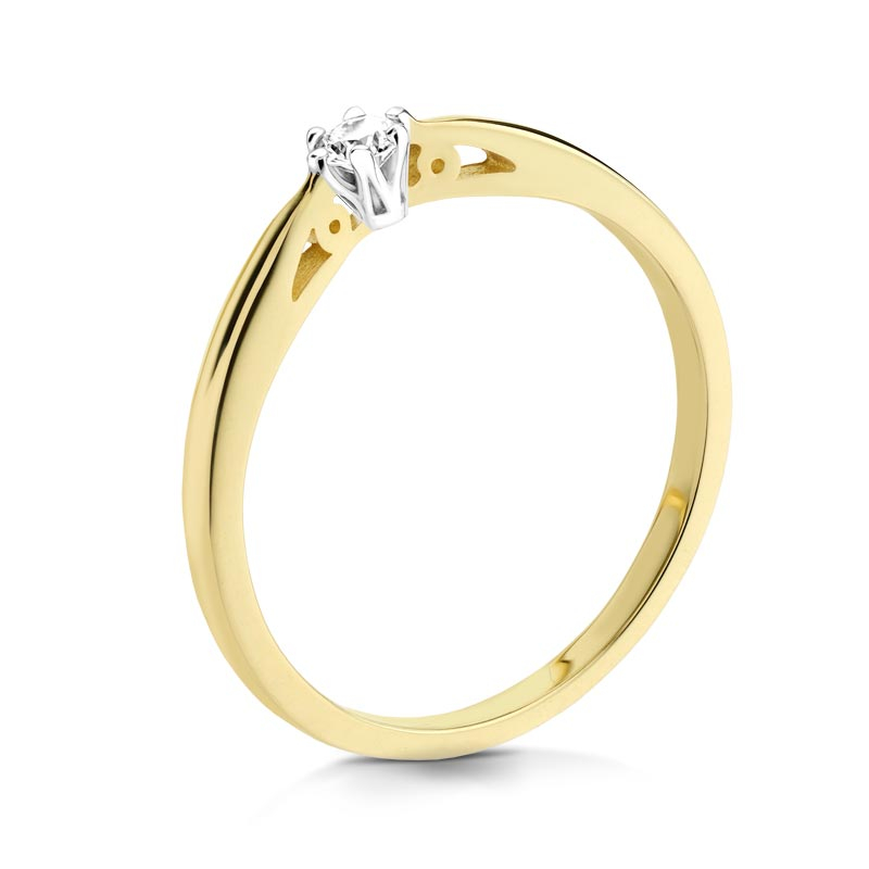 Pierścionek złoty z brylantem C10083_08