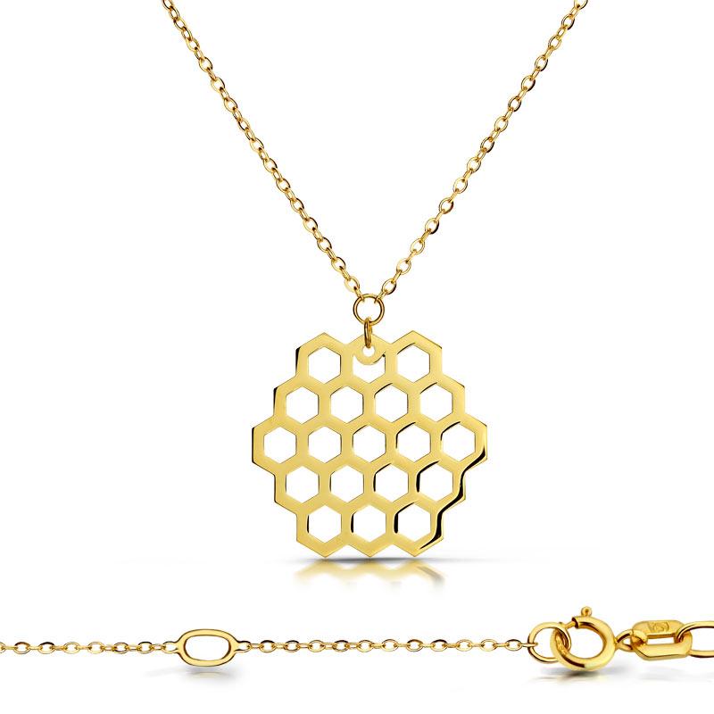 Celebrytka złota - Plaster Miodu Sześciobok C151