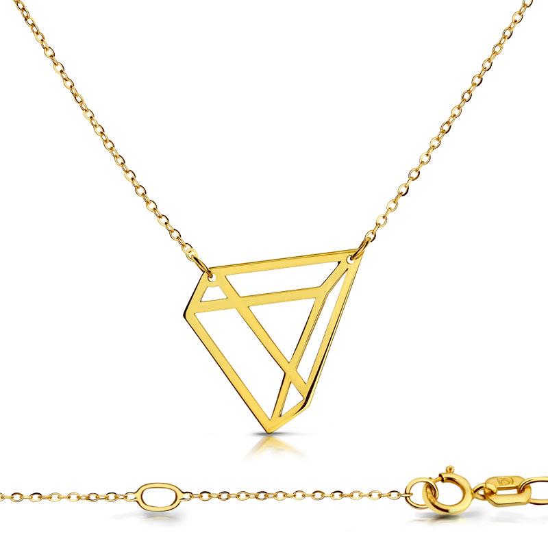 Celebrytka złota - Trójkąt 3D C154